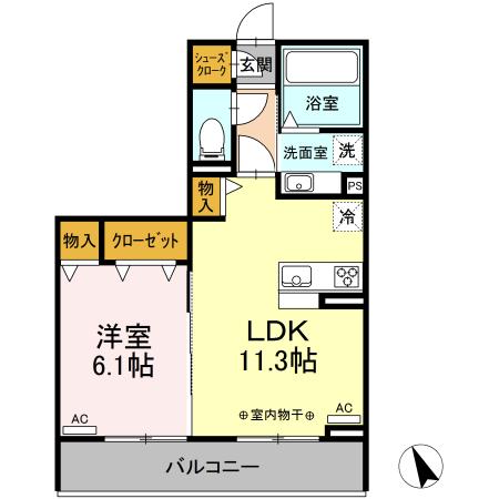 (仮称)D-Room有玉南町 A棟 203号室の間取り