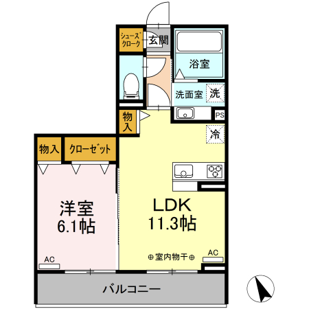 (仮称)D-Room有玉南町 A棟 303号室の間取り
