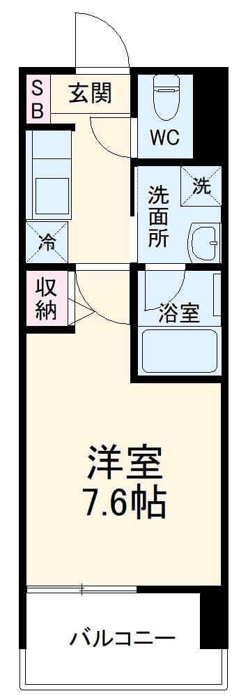 ヴィークブライト名古屋新栄 1002号室の間取り