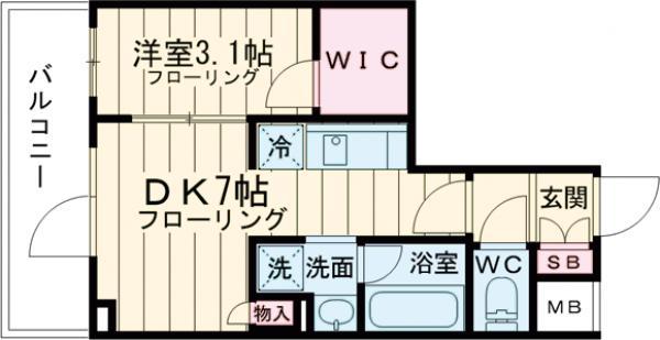 ステージファースト経堂アジールコート 702号室の間取り