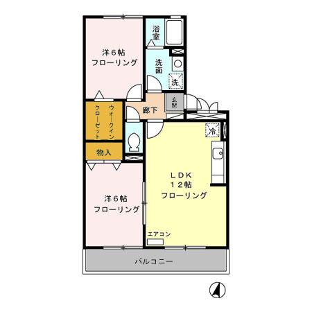 賀茂川ガーデンプレイス B・202号室の間取り
