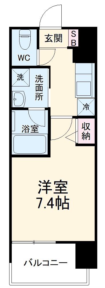 ヴィークブライト名古屋新栄 1204号室の間取り