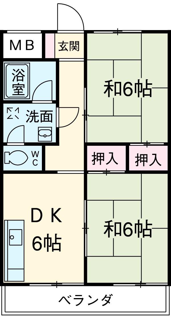 一本木マンション・206号室の間取り