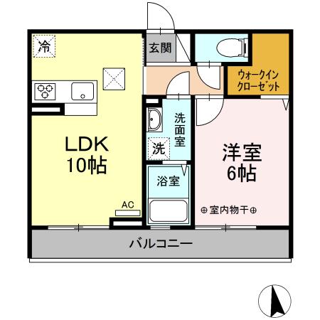 (仮)D-room東本町 102号室の間取り