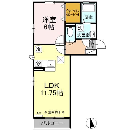 (仮)D-room東本町 103号室の間取り