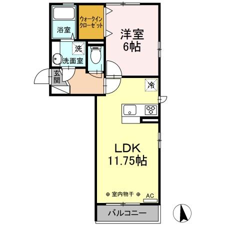 (仮)D-room東本町 201号室の間取り