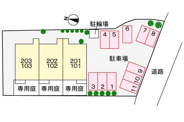 ヴィラルージュ 02030号室の駐車場