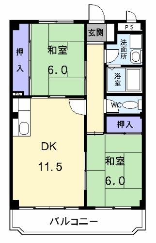 グリーンハイツ横井 03030号室の間取り