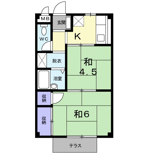 エルディム和田入・01020号室の間取り