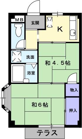 エルディム和田入・01040号室の間取り