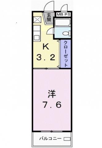 コーポ塩場・02050号室の間取り