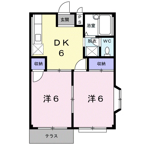 エルディム富士見Ⅲ・01010号室の間取り