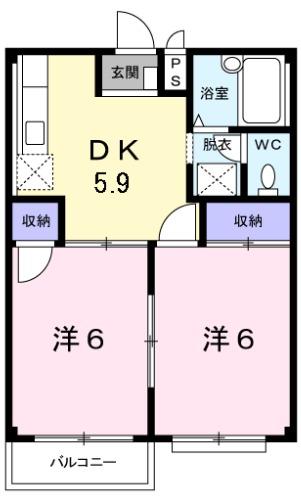 エルディム岡田・02020号室の間取り