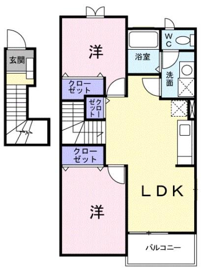 クレスト-ルユキB 02020号室の間取り
