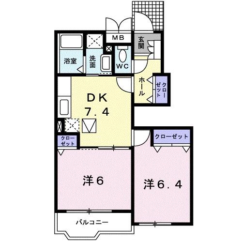 サニーセトル・K Ⅱ・01010号室の間取り