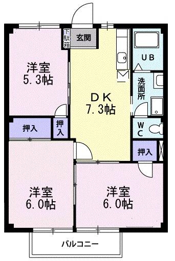 グリーンリーフ湘南・02020号室の間取り