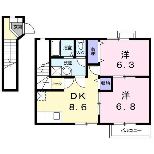 ドゥ・プランタンA・02030号室の間取り