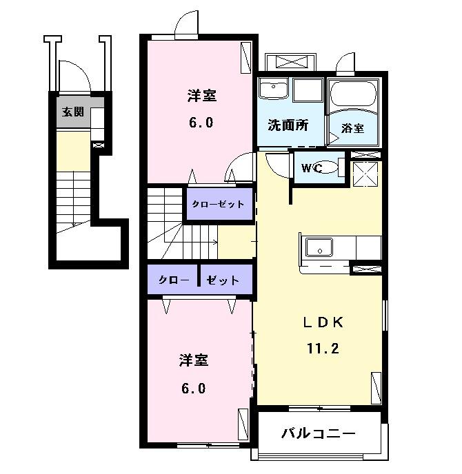 コンフォート江松Ⅱ 02010号室の間取り