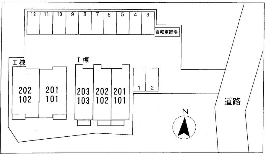 コウハイムⅠ 02010号室の駐車場