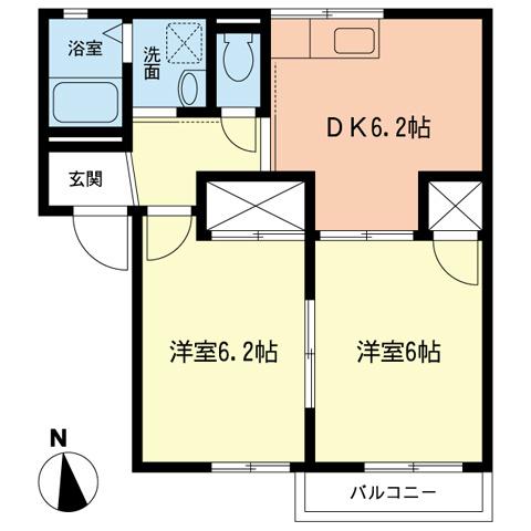 サニーハイツ神戸B・201号室の間取り