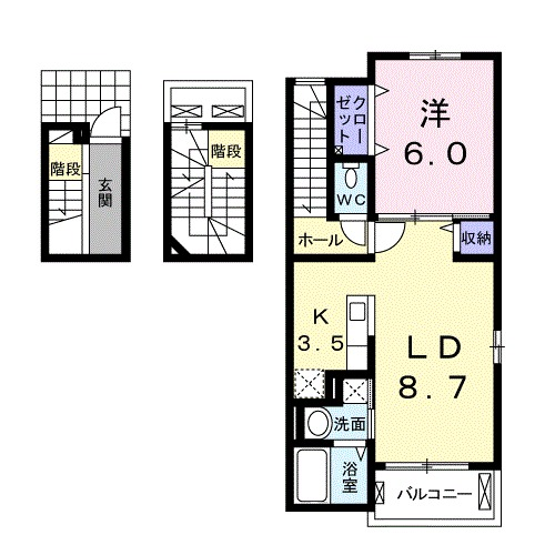 ファミーユ津久野・02020号室の間取り