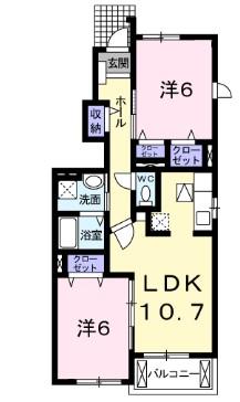 カ-サ・フェリ-チェ B 01010号室の間取り