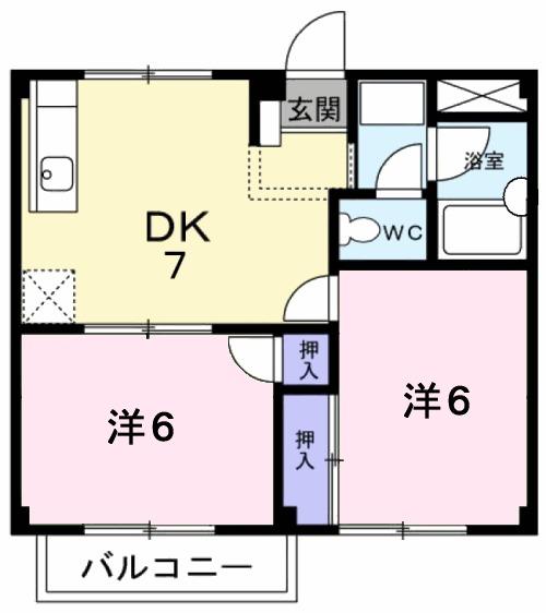 コーポさぎぬまB・02020号室の間取り