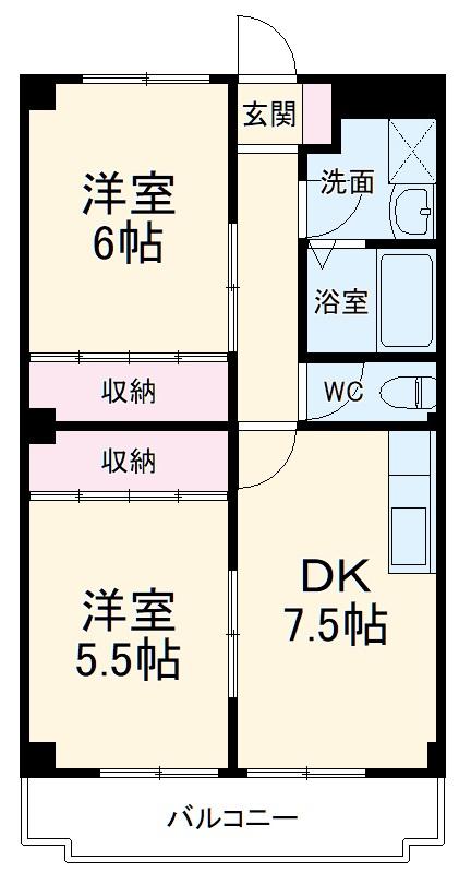 サンシティ豊川 02020号室の間取り