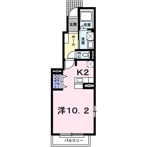 シャレー・ヤマタキ・01020号室の間取り