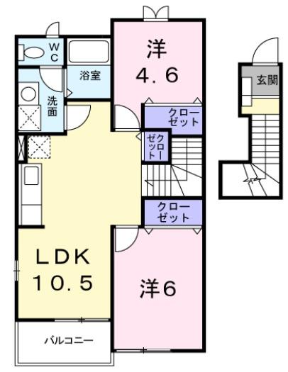 ル・シエルⅡ・02030号室の間取り