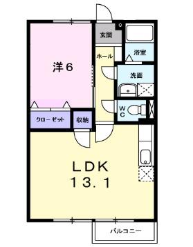 エスポワール石渡Ⅳ・01040号室の間取り