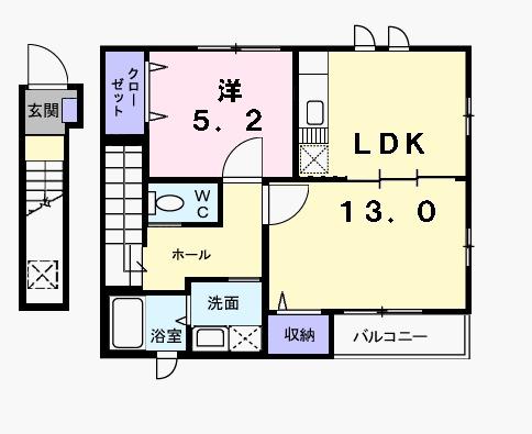 カーサ美園B・02010号室の間取り