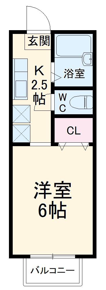 プチスタジオ湘南・201号室の間取り