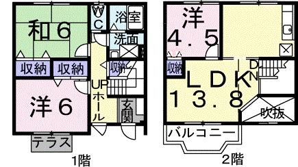 ドリームハウスⅠ番館・01020号室の間取り
