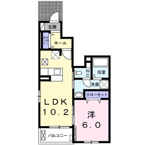 エステート乙川・01050号室の間取り