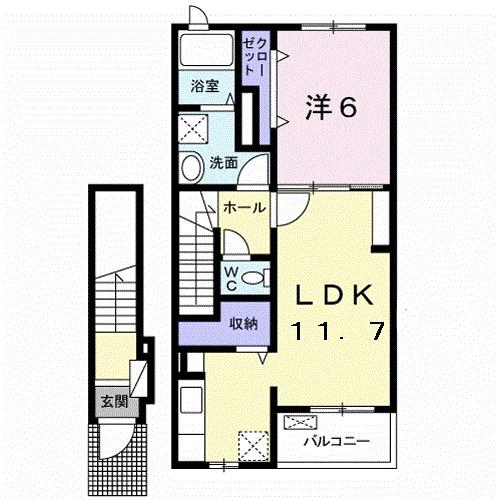 ルーベル太田B 02030号室の間取り