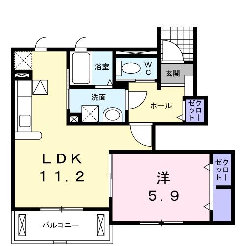 ルピナス湘南・01030号室の間取り