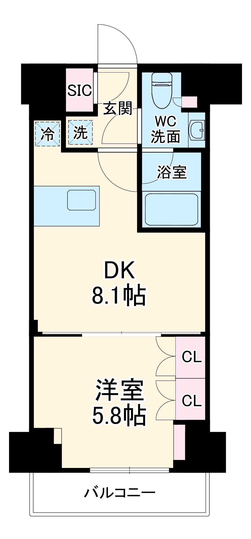ザ・パークハビオ横浜東神奈川・705号室の間取り