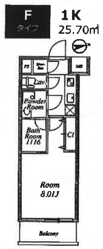 プライムネクサス大鳥居・303号室の間取り