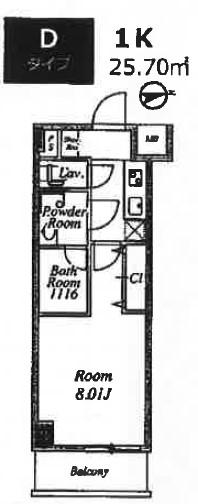 プライムネクサス大鳥居・504号室の間取り