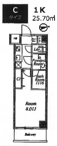 プライムネクサス大鳥居・405号室の間取り