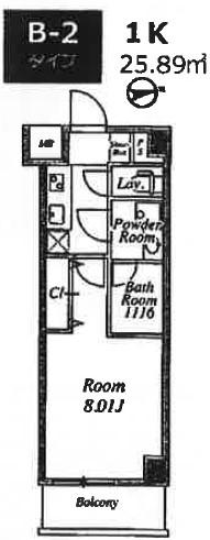 プライムネクサス大鳥居・406号室の間取り