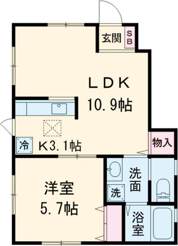 Deux Maisons AKABANE・101号室の間取り