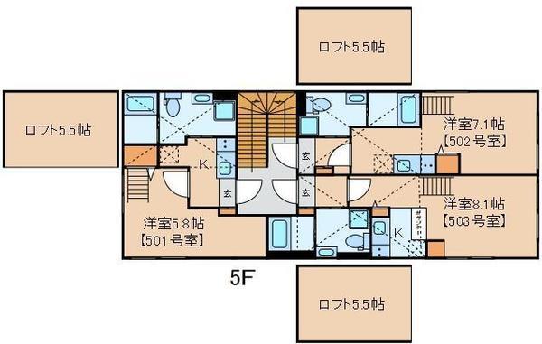 クラヴィール上野田原町・503号室の間取り