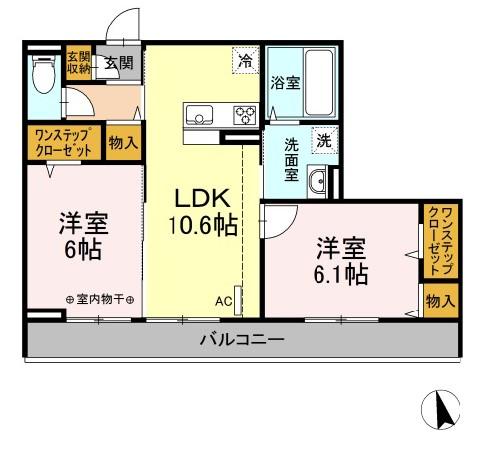 仮)D-room下依知 202号室の間取り