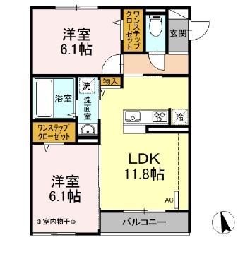 仮)D-room下依知 203号室の間取り