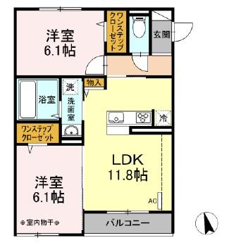 仮)D-room下依知 303号室の間取り