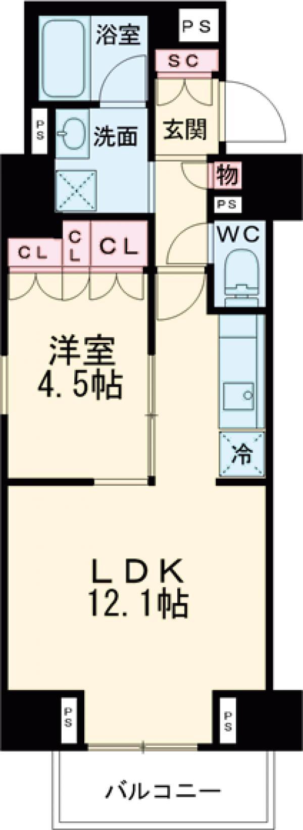 プラウドフラット西早稲田・1001号室の間取り