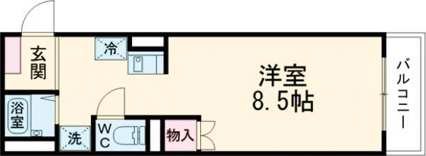 パルコート芦花・106号室の間取り
