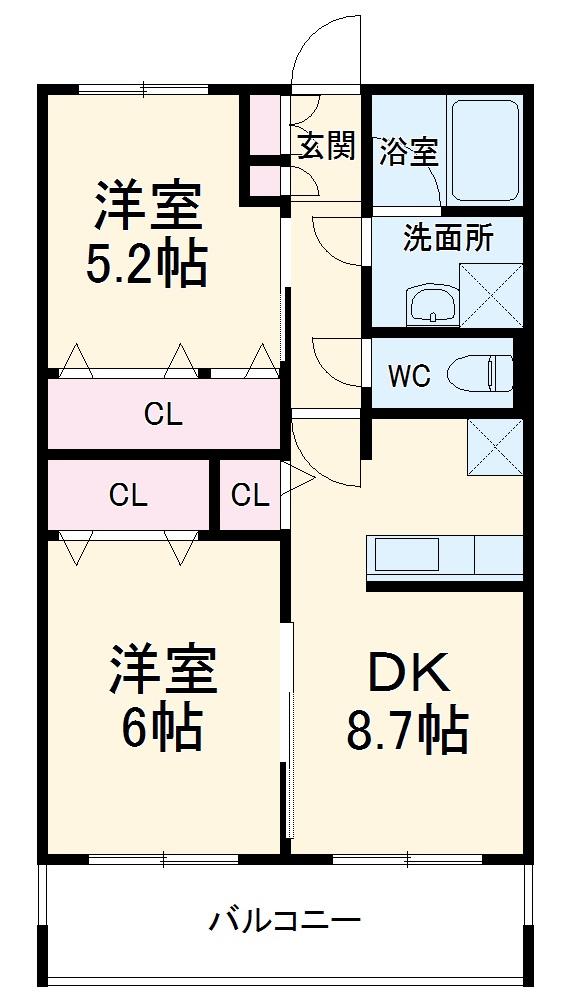 ドミール新川崎・203号室の間取り